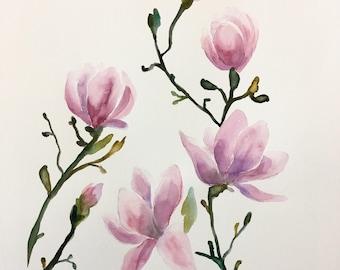 ORIGINAL Purple Magnolias Watercolor