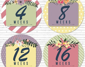 Pregnancy stickers, baby bump stickers, maternity stickers, pregnancy milestone, weekly pregnancy stickers, weekly belly stickers, flowers