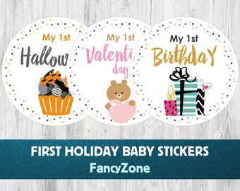 Holiday Milestone Stickers, Monthly Baby Holiday Stickers, My First Mather's Day, First Halloween, My first Christmas, Holiday Stickers Set