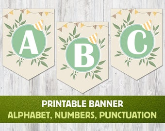 Printable Alphabet Banner: Letters A to Z, Numbers and Punctuation. Party Banner, Alphabet Bunting, Baby Shower Banner, Birthday Banner