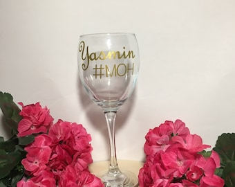 Bridesmaid Gift- Personalized Wine Glass