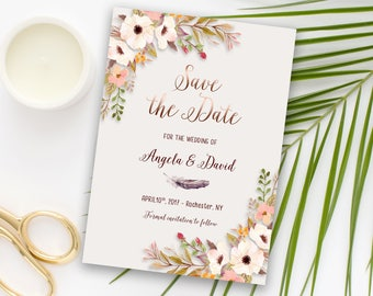 Save the Date Printable Floral Digital Wedding Boho White Floral Watercolor Rose Gold letters Bohemian Save the Date Invite WS-015