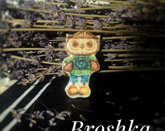 """Brooch: """" Owl Photographer""""//owl//pin//cute//animals//gift//present//kids//animals//lovely"""
