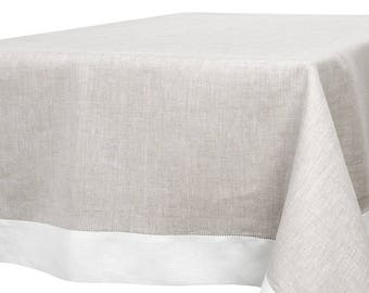 100% Linen TABLECLOTH   Light GRAY   White Edging   Various Sizes Available    Made