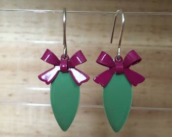 Silver Earring with green pendant