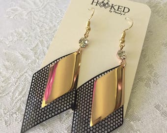 Gold and black mesh earrings.