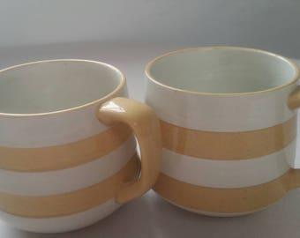 T.G. Green Cornishware 2 Coffee/Tea Cups. Cornish Gold.