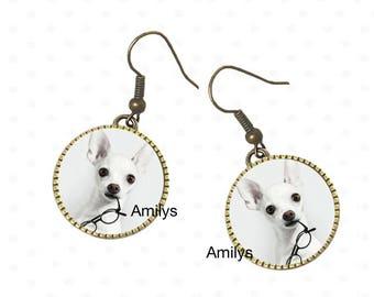 Earrings Doggie pintcher white cabochon, brass tone metal
