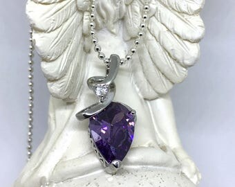 Drop shaped purple pendant necklace and white Crystal on a silver chain 925, love