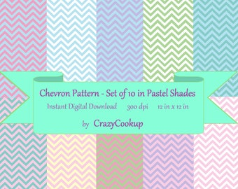 Chevron Pattern - Set of 10 in Pastel Shades (300 dpi 12 in x 12 in) instant digital download