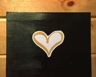 White & Gold Heart on Black Canvas
