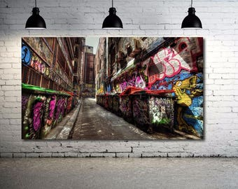 "Grafitti Scene Canvas Print 36""x20""  Spray Can Art WoW  New York City Urban Art"