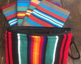Serape Woven Make Up Coin Purse Clutch wristlet Bag