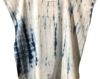 Indigo Dyed Cotton Top - Shibori Technique - Natural Dye - Size large