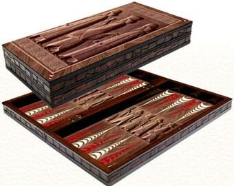 "Backgammon set travel foldable family board game set, Yenigun ancient design 20"""