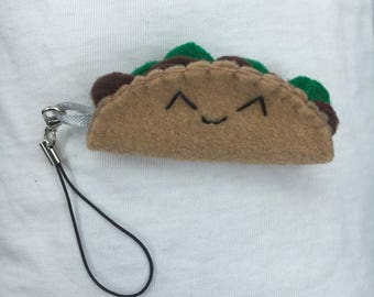 Mini Taco Keychain Backpack Zipper Charm Plushie