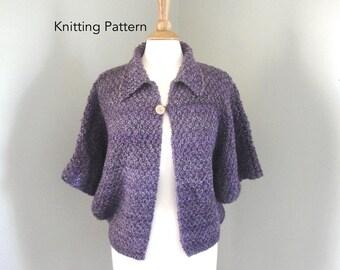 Shonie Shrug Knitting Pattern, Dolman Sleeve Cardigan Sweater, Chunky Yarn, XS S M L XL