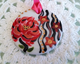 "Porcelain pendant ""Pink and Red"""