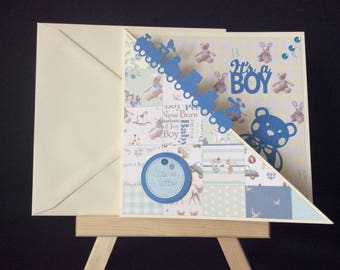 New Baby Card, New Baby Boy Card, It's a Boy, Card for a Baby Boy, Handmade Card for a Baby Boy, Baby Shower Card