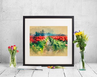 red flowers watercolor print