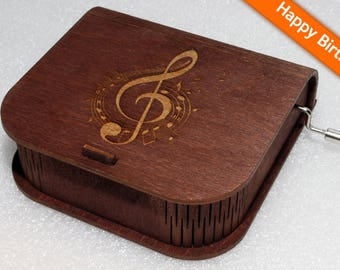 "Engraved Wooden Music Box  ""Happy Birthday"" #2 - Hand Crank Movement"