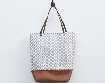 Canvas Tote - Grey & White Hexagonal Print, Faux Leather Bottom, Leather Straps, Neutral Tote, Geometric Pattern, Book Bag, Everyday Tote,