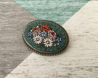 A 19th Century Micro Mosaic Flower Brooch, Daisies, Forget Me Knot Flowers Pin made in Italy