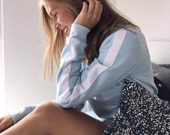 Light blue Pullover / Sweater light blue / turquoise with white stripes