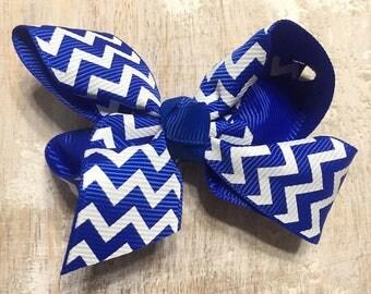 Royal Blue and White Chevron Grosgrain Ribbon Bow, Alligator Clip, Barrette, 3 inches wide, Hair bow, Girls, Summer