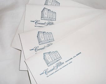 4 vintage THE CONRAD HILTON Hotel, Chicago Envelopes