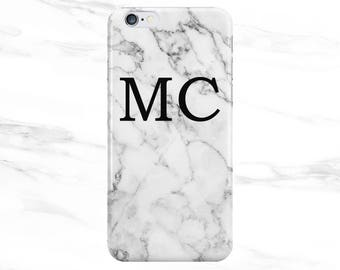 Personalised Name initials White Marble Phone Case for Apple iPhone 5 6 7 Plus & Samsung Galaxy S8 Personalized Customized Monogram