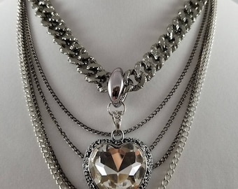 Sparkling Heart Long Layered Necklace Chains Gift Anniversary Wedding Birthday