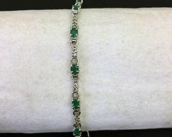 Bracelet in Silver 925 with 26 diamonds and 13 emeralds