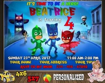 Pj Masks Invitation, Pj Masks Birthday, Pj Masks Invite, Pj Masks Party, Pj Masks Printable, Pj Masks Custom, Pj Masks Card, Pj Masks Evite