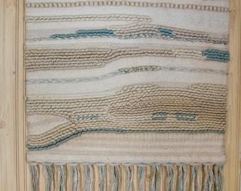 Large, Mid-Century, Woven Fabric Wall Hanging ~ Cream & Light Blue