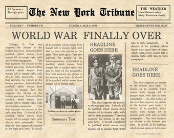 Designed by a teacher newspaper template instant download vintage front page newspaper template instant download for unlimited use pronofoot35fo Images