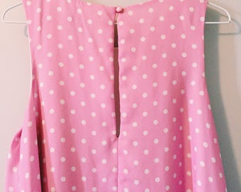 Pink polka dot swing dress