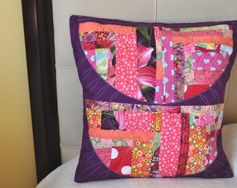 Quilted, colorful, decorative, pillow case