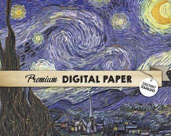 Van Gogh's Starry Night Print, 12x12, Digital Backdrop Paper, Digital Background Panel, Background Paper, Printable INSTANT DOWNLOAD