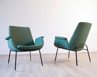 Vintage Mid Century 1950s 1960s Italian Armchair with metal legs and original vintage upholstery