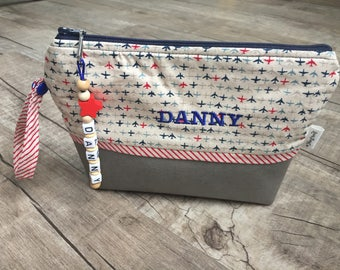 Leather Diaperpouch Toiletries bag -Beige Airplanes/cosmetic bag / diaper bag /diaper purse /diaper clutch /mommy clutch