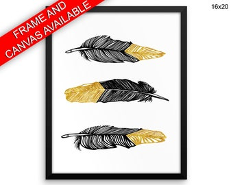 Black And Gold Canvas Art Black And Gold Printed Black And Gold Feathers Art Black And Gold Feathers Print Black And Gold Framed Art Black