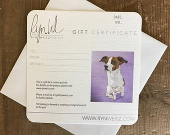 Gift Certificate Original Painting Animal Portrait Pet Portrait Dog Art Cat Art Animal Painting Hand Painted Personalized Gift Fine Art
