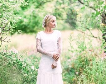 Custom Made Wedding Dress | Chantilly and Chiffon, Ivory, Long Sleeves