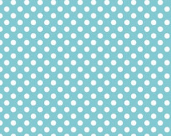 Aqua and White  Polka Dot Cotton Fabric - Riley Blake Fabrics - Perfect for Nursery, Clothing, and Quilts