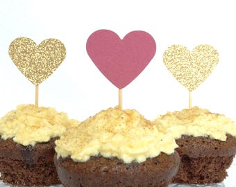 Pink And Glittery Gold Cupcake Toppers -  Baby Shower - First Birthday - Pink And Gold Wedding Decorations - Muffin Toppers