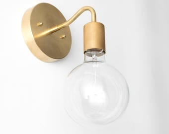 Delicieux Brass Wall Sconce   Globe Sconce   Minimal Sconce Light   Gold Wall Lamp    Raw