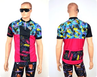 80s/90s neon CYCLING JERSEY by BIEMME / mens size xxl / short sleeve T-shirt top / made in Italy