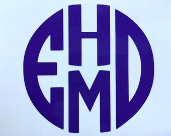 Custom Four Letter Monogram Decal