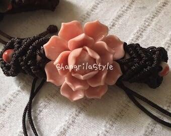 Chinese Ceramic Lotus Flower Bracelet in Pink